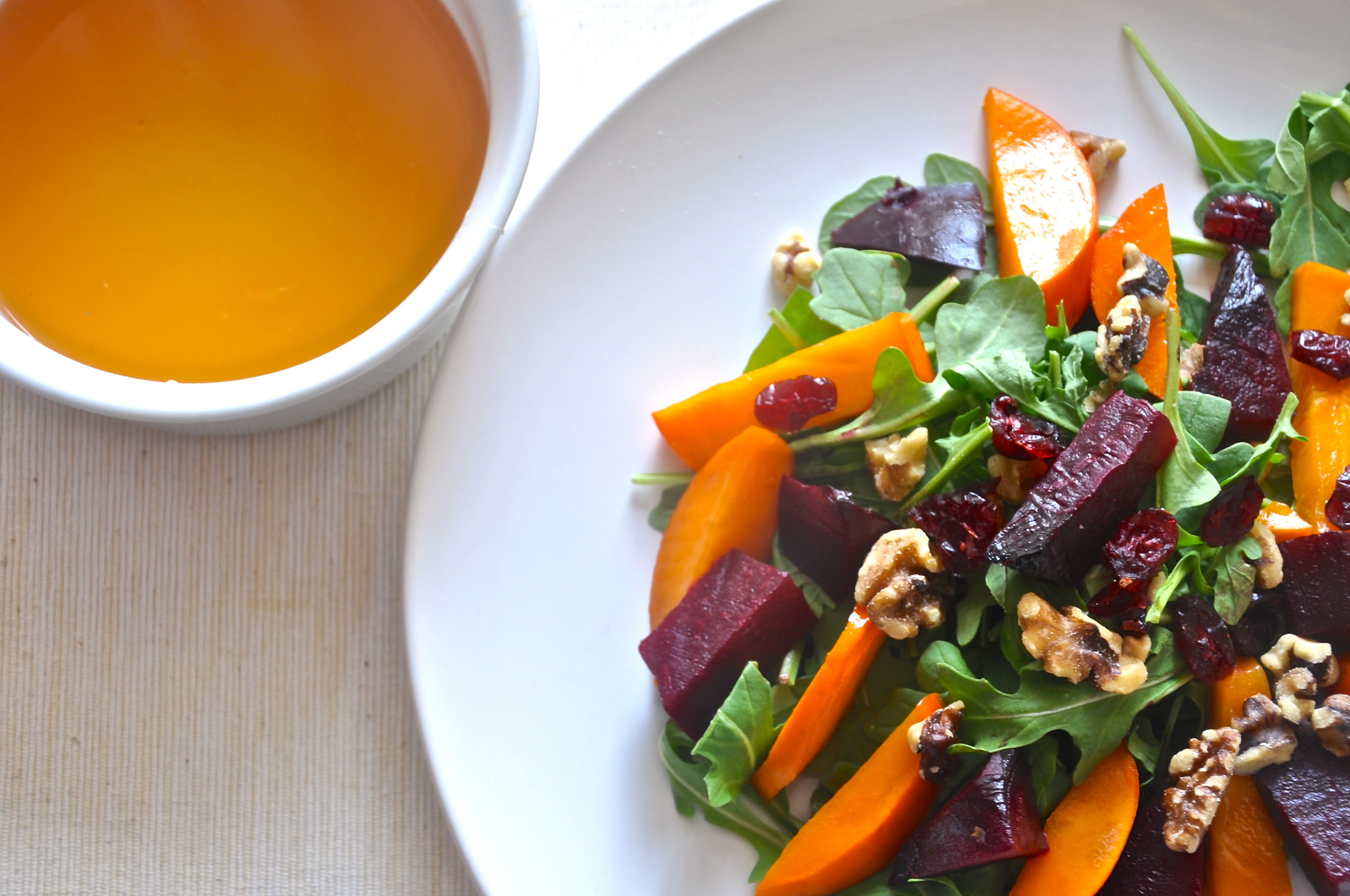 Persimmon and Roasted Beet Salad with Citrus-Honey Vinaigrette